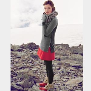 J.Crew Red Elbow Patch Button Sweater